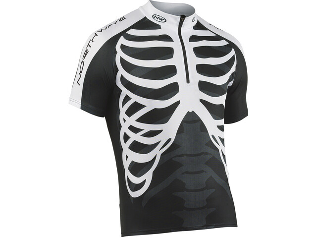 Northwave Skeleton Maillot Manches courtes avec zip Homme, black/white